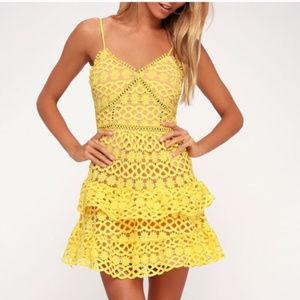Lulu's Yellow Crochet Lace Dress